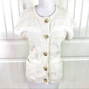 Michael Kors Cream Cap Sleeve Sweater Cardigan S